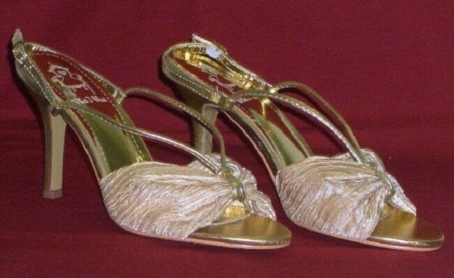 Summery Evening Gala Sandals Peeptoes Size 36 gold What Iwant New