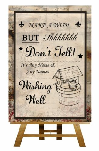Poster Vintage Chic Wishing Well Personalised Wedding Sign