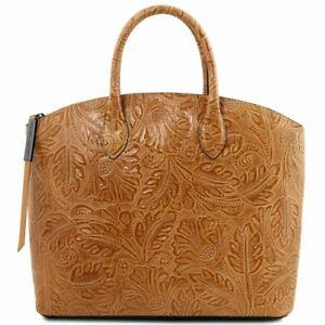 grande liquidazione vendite speciali per tutta la famiglia Dettagli su Gaia - Borsa shopper in pelle stampa floreale Tuscany Leather