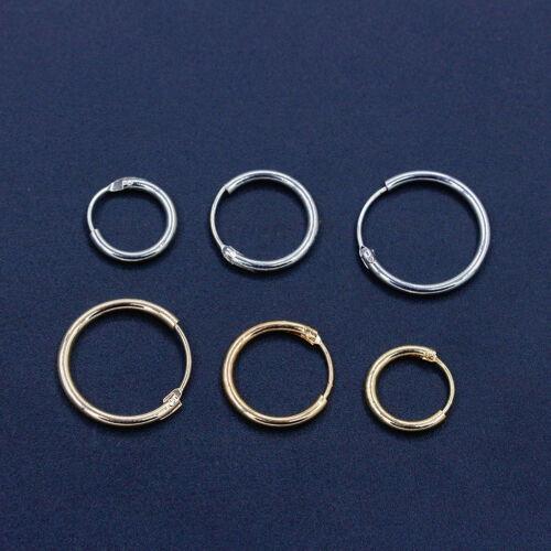Fashion Sterling Silver Gold Endless Hoop Rings Lip Nose Ear Studs Earrings UK