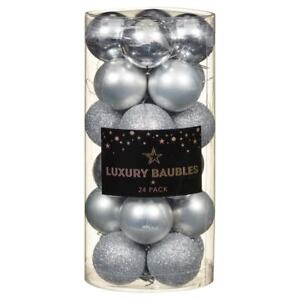 Ebay Christmas Baubles.Details About 24pk Silver Deluxe Luxury Christmas Baubles 40mm Xmas Tree Hanging Decoration