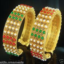 E 8 Indian 2PC Ethnic Multi Pearl Kada Fashion Traditional Gold Bracelet Bangles