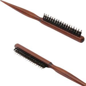 Salon-Comb-Hair-Teasing-Brush-Wooden-Handle-Back-Comb-Natural-Boar-Bristle-W-Dn