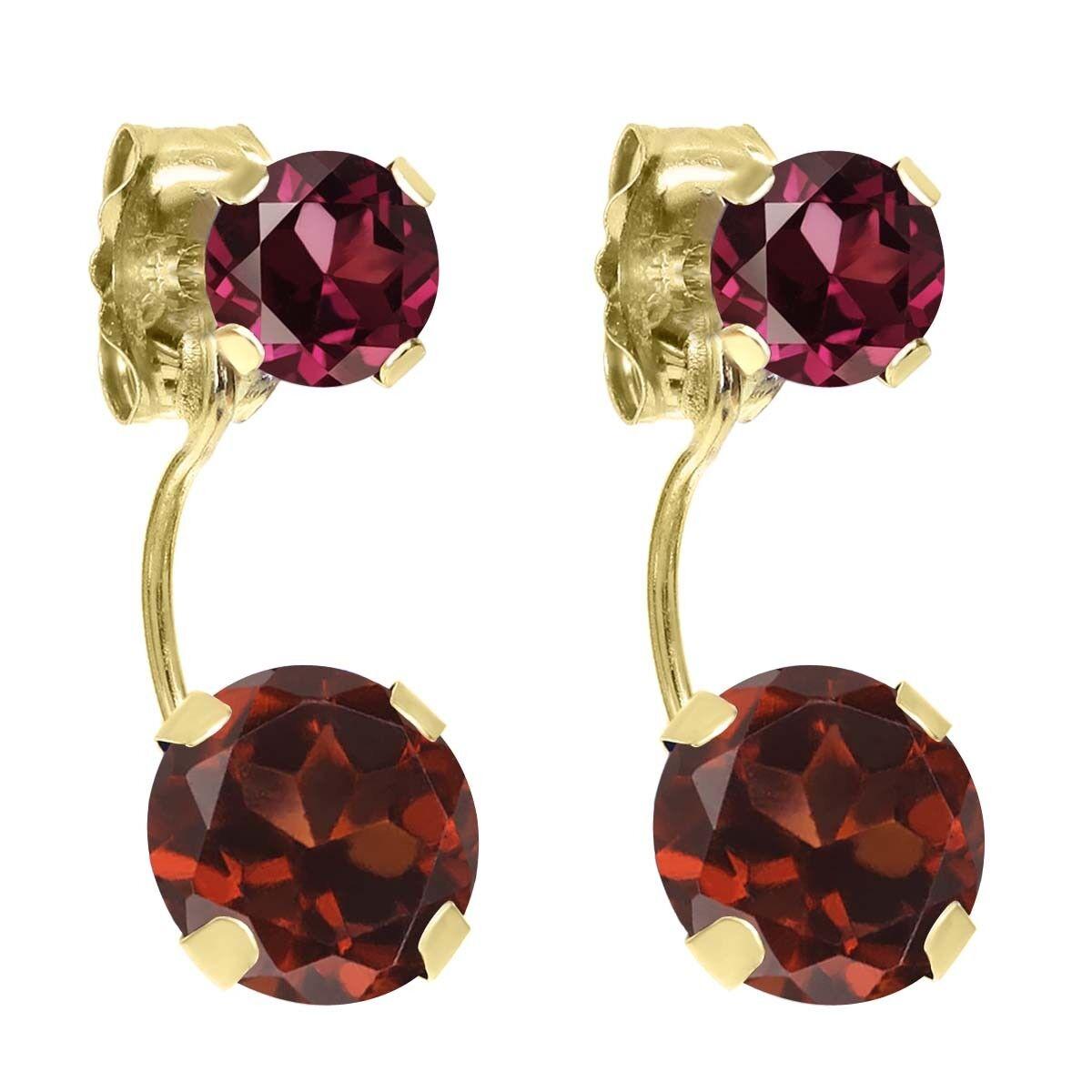 2.74 Ct Round Red Garnet Red Rhodolite Garnet 14K Yellow gold Earrings