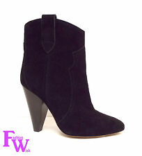 New ISABEL MARANT ETOILE Size 7 ROXANN Black Suede Western Boots 37
