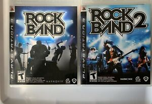 Rock-Band-1-amp-2-Sony-PlayStation-PS3-Game-Bundle-Lot-CIB-Free-Shipping