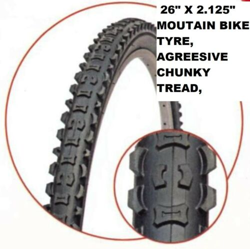 """can add tubes 26/"""" x 2.125/""""  Agressive Chunky Tread Mountain Bike Cycle tyres"""
