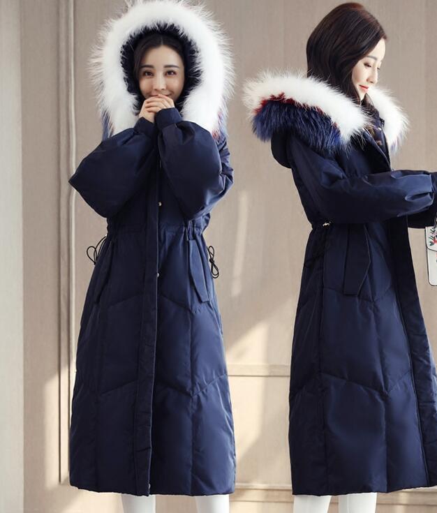 S-5XL mujer piel con capucha Down  Parka Gruesa De Invierno Nieve largo abrigo abrigos 2018  bienvenido a comprar