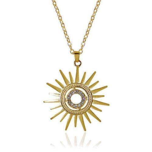 Gold Sun Stainless Steel Jewelry Set Women Pendant Necklace Wedding Earring B4P8
