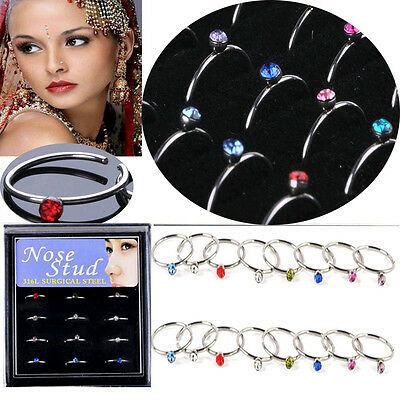 18G 18pcs New Stainless Steel Nose Open Hoop Ring Earring Body Piercing Jewelry