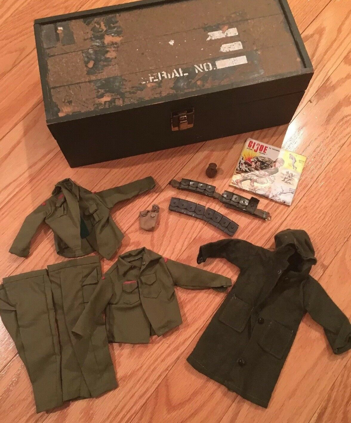 GI Joe 1964 Hasbro long coat, belt with 4 ammo cases, canteen pouch, 2 uniforms