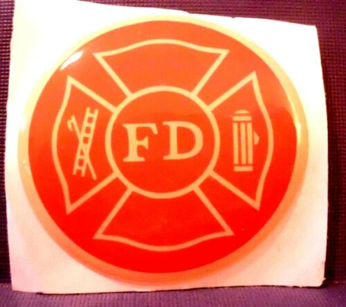 FD FIRE DEPT FIRE FIGHTER  FULL COLOR 2 INCH EPOXY DOME CAR DECAL STICKER EMBLEM