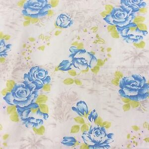Vintage-Cotton-Blend-Tropical-Hawaiian-Floral-Fabric-Blue-Lime-Sewing-Craft