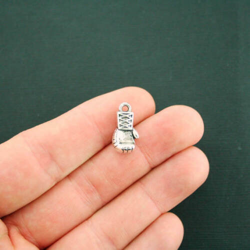 8 Boxing Glove Charms Antique Silver Tone 3D SC1157