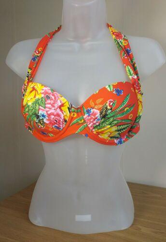 Studio Linea Donna Arancio Floreale Ferretto Halter Neck Imbottito Top Bikini Taglia 12 Tie