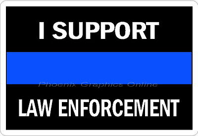 Thin Blue Line I Support Law Enforcement Reflective Decal Sticker Police Sheriff