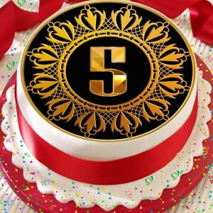 Miraculous Gold 5Th Age 5 Birthday Anniversary Precut Edible Cake Topper Funny Birthday Cards Online Aboleapandamsfinfo