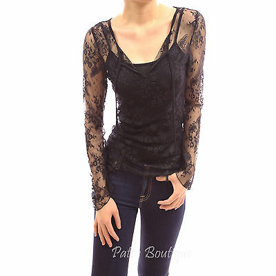 V Neck Floral Full Lace Bell Long Sleeve Camisole Twin Set Casual Top