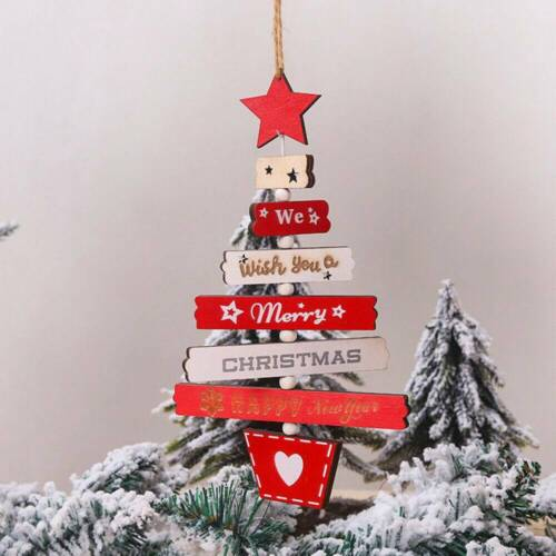 Xmas Wooden Pendant Hanging Door Decorations Christmas Tree Home Party Ornaments