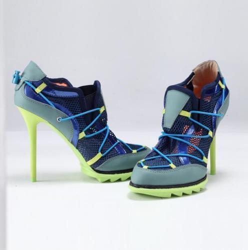 donna Mesh Sport scarpe da ginnastica Lace up Breathable Stiletto High Heel Denim scarpe Sz