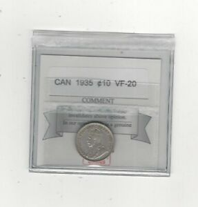 1935-Coin-Mart-Graded-Canadian-10-Cent-VF-20