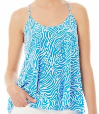 Lilly Pulitzer Maisy Silk Top Solar Blue Night Swimming #86450 Size Large NWT