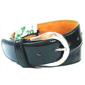 Leather-Black-Money-Belt-Size-S-1-1-2-034-Width-17-034-Zipper