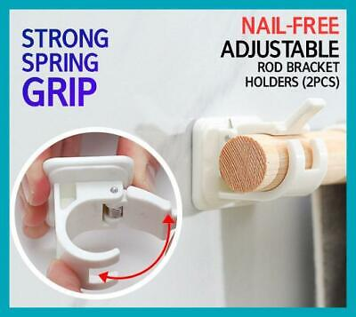 2//4pc Nail-free Adjustable Rod Bracket Holders Magic Wall Curtain Hanging Rod HK