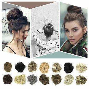 Human-Real-Natural-Curly-Messy-Bun-Hair-Piece-Scrunchie-Hair-Extensions-US-STOCK