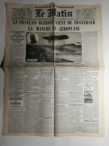 N445-La-Une-Du-Journal-Le-Matin-25-juillet-1909-Bleriot-traverser-Manche