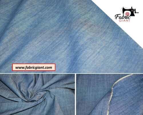 Double Side High Quality. Light weight Washed Denim 100/% Cotton Fabric Material