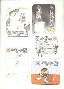 5  bierviltjes  STELLA ARTOIS   BELGISCHE CARTOON'S    1982    /