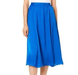Alfani-Womens-XL-Stormy-Sea-Blue-Elastic-Waist-Lined-Satin-ALine-Midi-Skirt-NWT