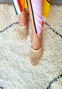 handmade-raffia-babouch-moroccan-mule-Natural-slides-summer-flats-handmade-shoes