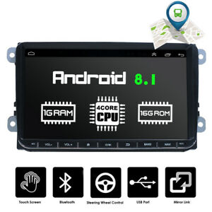 9-034-Autoradio-Android-8-1-Stereo-GPS-Navi-BT-Mirror-For-VW-GOLF-5-6-Passat-Touran