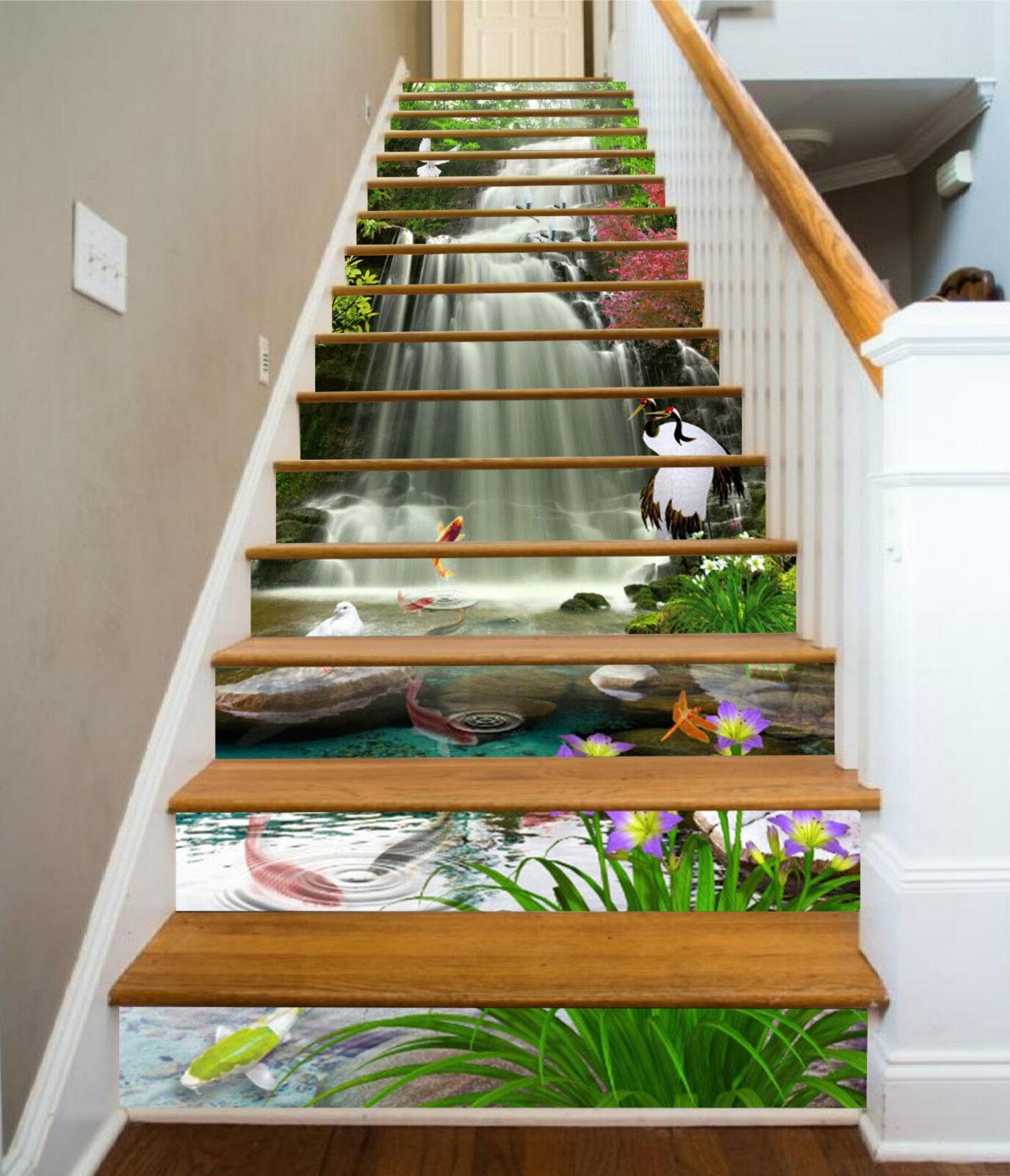 3d wasserfall 32 32 32 stair risers dekoration fototapete vinyl aufkleber tapete de 5082d6