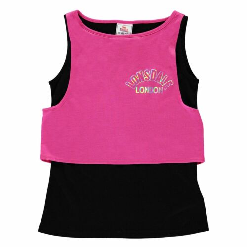 Lonsdale Layer Vest Youngster Girls Tank Top Lightweight Colour Block