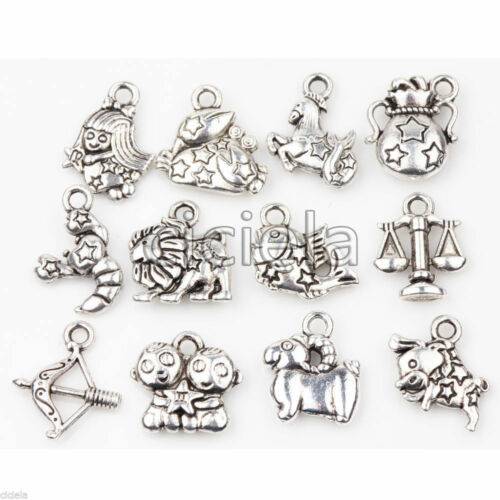 Charms Clip On Tibetan Silver Constellations Stars Zodiac Pendant Necklace Chain