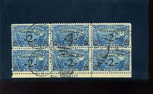 Canal Zone Scott #J22 Postage Due USED Plate Block of 6 Stamps (Stock #CZJ22-6)