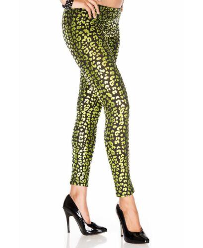 Music Legs 35135 Green Metallic Leopard Print Leggings