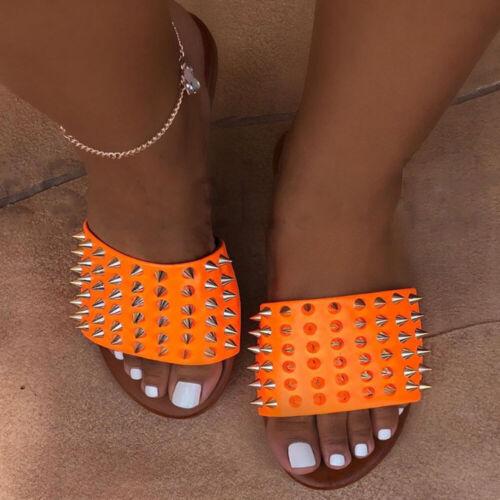 WOMENS LADY COMFY SLIP ON MULE SUMMER GLITTER SLIDERS FLAT SLIPPERS BEACH SHOES