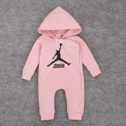 Nouveau bébé Jordan à Capuche Ange BABYGROWS nouveau-nés garçons filles tenue Baby Body