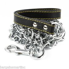 """NEW 72"""" 6ft Long x 4mm Thick Chain Dog Leash Strong Hold Pet Black Strap Walking"""