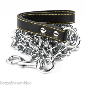 NEW-72-034-6ft-Long-x-4mm-Thick-Chain-Dog-Leash-Strong-Hold-Pet-Black-Strap-Walking