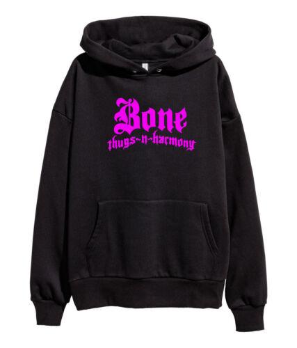 Bone Thugs N Harmony Pink Logo Hoodie Hip Hop Rap Hooded Sweatshirt merch Black