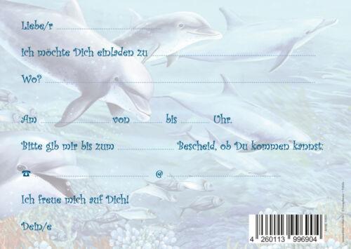 6-er-Set Delfin-Einladungskarten zum Kindergeburtstag oder zum Schwimmen