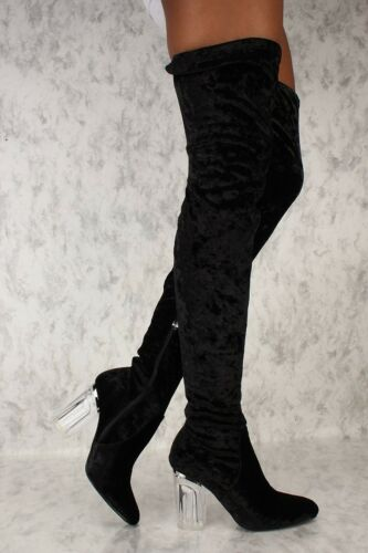 Black Brown Skinny Platform Knee Thigh High Boots Faux Leather Boots Stilettos