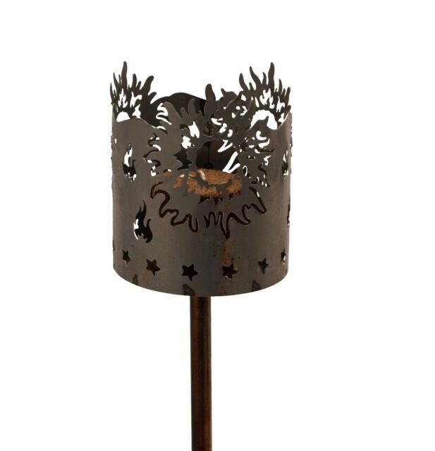 2er Brennelement für Gartenfackel Metall Rost Windlicht Brenndose Feuerschale