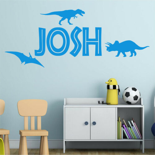 DINOSAUR Wall Sticker Personalised Name Boys Bedroom Vinyl Art Decal AD133