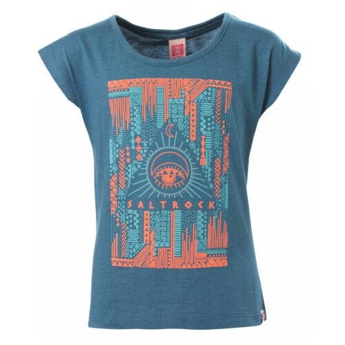 Le Ragazze Misto Cotone Blu Stampa Azteca T-shirt da Saltrock età 11-12 ANNI NUOVO